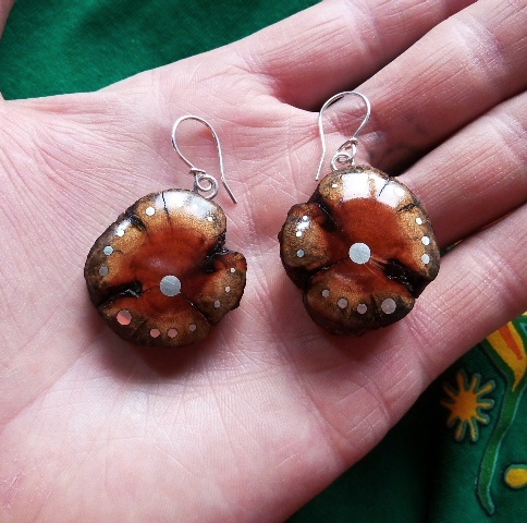 EARRINGS NA - 025 MEXICAN WOOD - wild rose