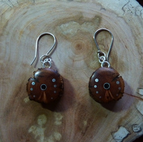 EARRINGS NA - 033 MEXICAN WOOD - wild rose