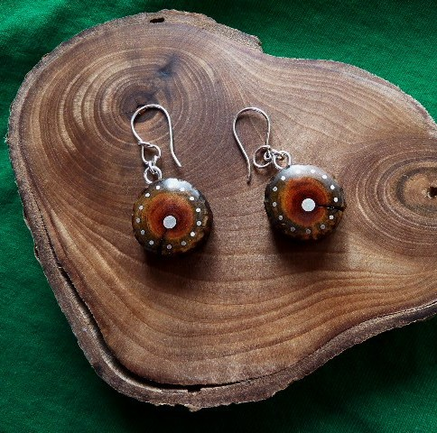 EARRINGS NA-027 MEXICAN WOOD - wild rose