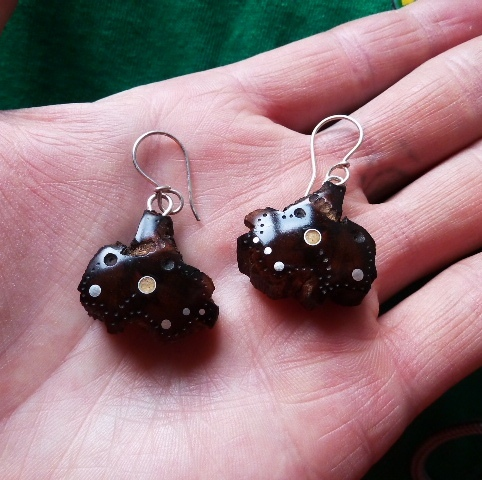 EARRINGS NA-026 MEXICAN WOOD -
