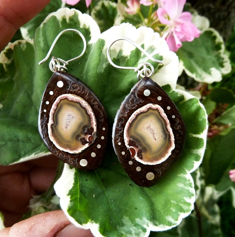 EARRINGS NA -051 Agate - Czech paradise