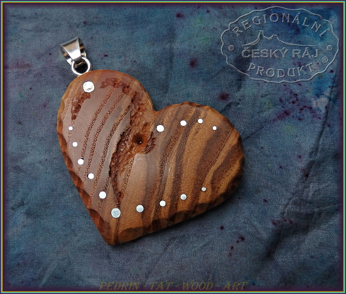 WOODEN NECKLACE NH-560 HEART of ASH tree