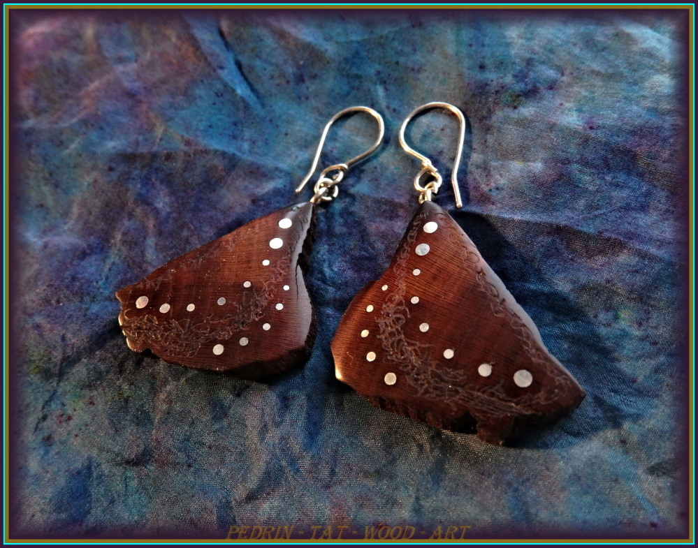 WOODEN EARINGS NA-167 PEAR Shamanic Garden