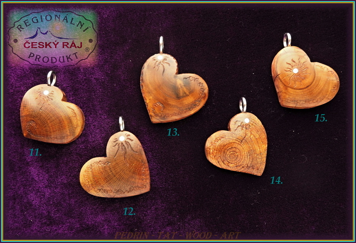 WOODEN HEART - Necklace 10-15 - Adjustable knot fixing