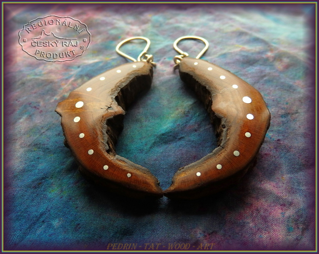 WOODEN EARINGS NA-169 Cherry wood 1.