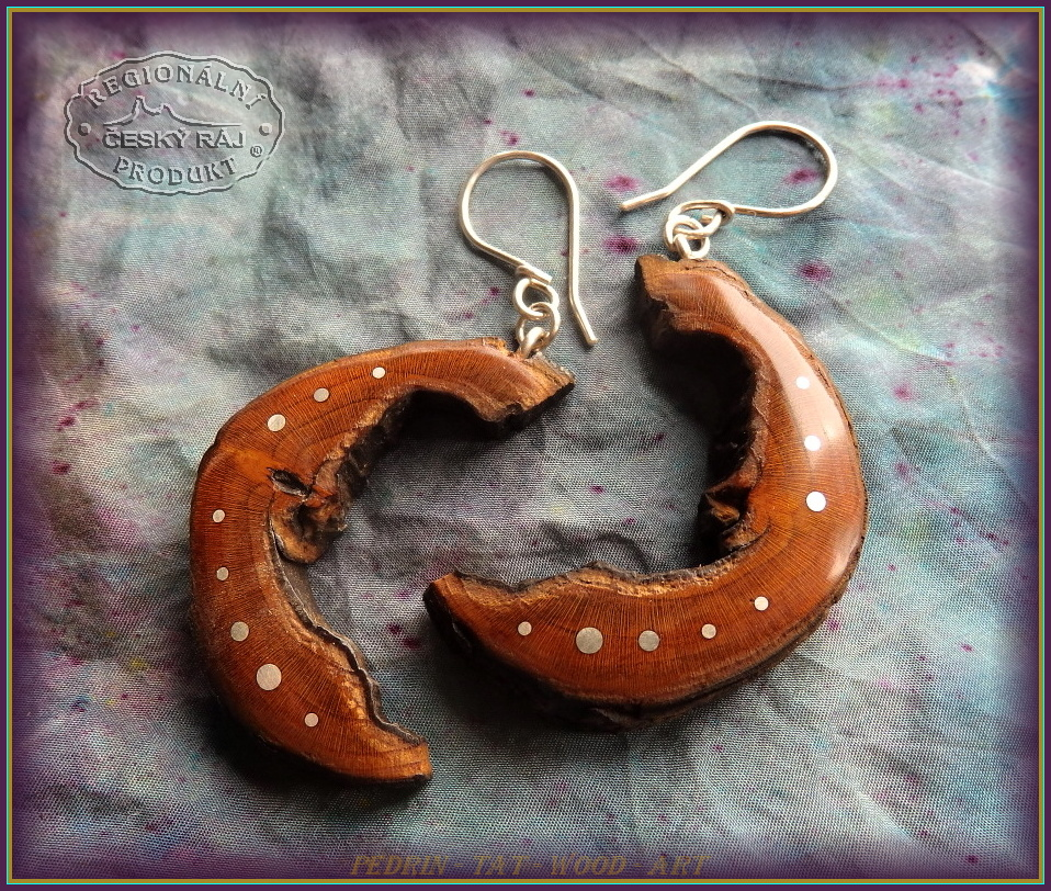 WOODEN EARINGS NA-170 Cherry wood