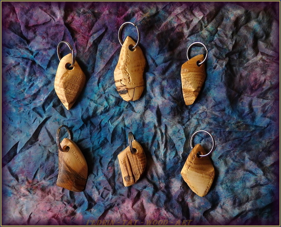 KEY RING - BEECH and ASH wood - mix 4.