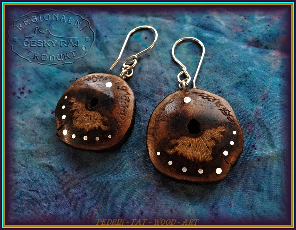 WOODEN EARINGS NA-183 GRAPEVINE Wood
